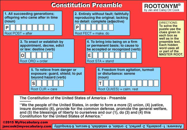 Constitution day sept 17th vocabulary puzzles www myvocabulary com