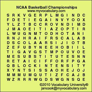 Basketball-March Madness vocabulary games, Basketball-March ...