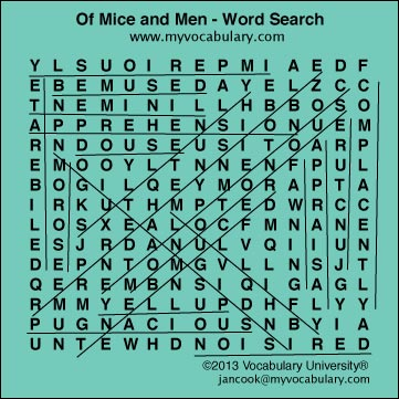 Of Mice and Men, Of Mice and Men vocabulary - www.myvocabulary.com