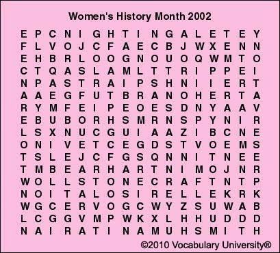 Women's History Month vocabulary games, Women's History Month ...